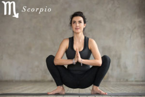 Yogi Squat for Scorpio - check out more yoga poses for the zodiac signs