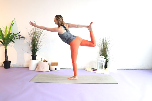 Dancer pose is a great balancing yoga pose