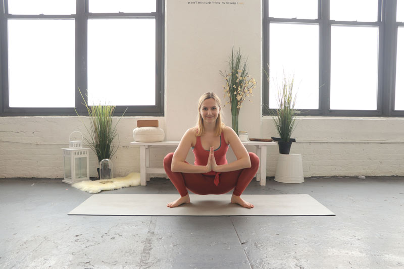 Yogi Squat or Garland Pose is a great pose for the Menstrual Phase of your cycle